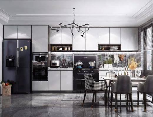 現代廚房, 廚房, 櫥柜, 餐桌椅
