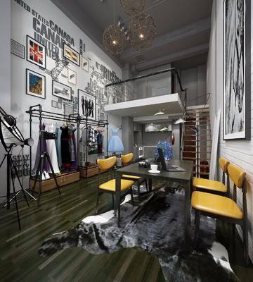 工业风, 客厅, 餐桌椅, ?#24405;? 衣服, 落地灯, 挂画, 吊灯
