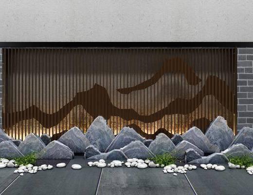 背景文化墙, 景观园林, 新中式