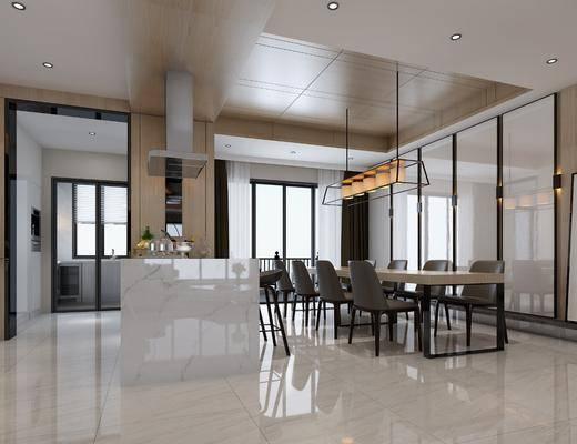 现代客厅, 现代餐厅, 玄关, 走廊, 过道, 现代沙发, 沙发组合, 餐桌椅, 台式