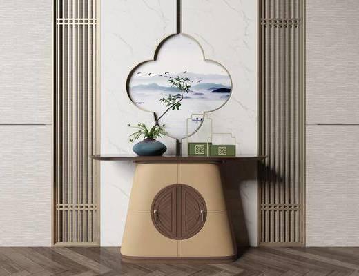 玄关柜, 端景台, 摆件组合, 墙饰
