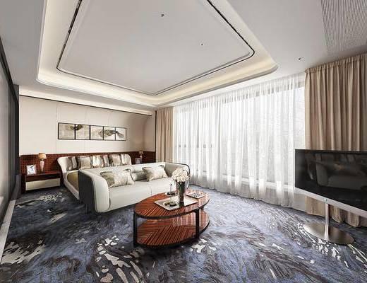 卧室, 双人床, 床头柜, 台灯, 茶几, 多人沙发, 双人沙发, 装饰画, 挂画, 照片墙, 现代