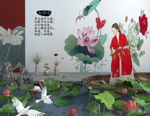 荷花池, 园艺小品, 荷花, 池塘, 花瓶花卉, 船, 石头, 中式