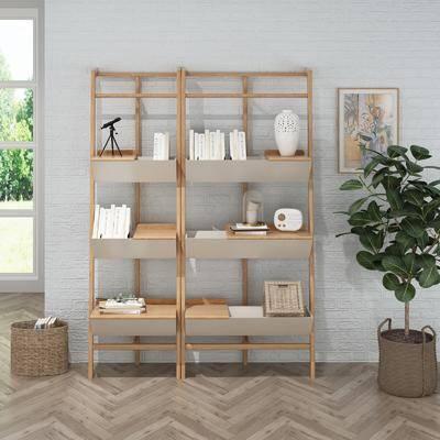 书柜, 书架, 置物柜, 盆栽
