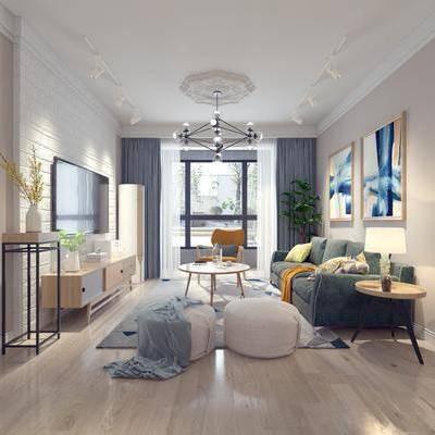 北欧客厅, 北欧沙发, 沙发组合, 沙发茶几组合, 现代客厅, 现代沙发