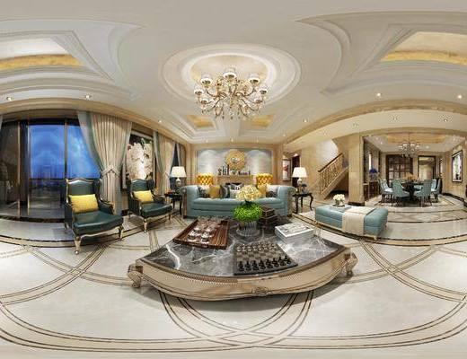 客厅, 餐厅, 简欧客餐厅, 沙发组合, 沙发茶几组合, 餐桌椅组合