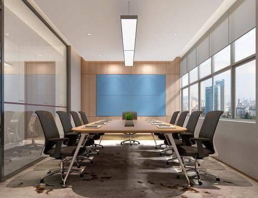 会议室, 桌椅组合, 吊灯, 盆栽植物