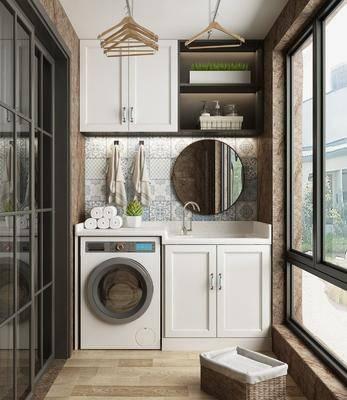 阳台, 露台, 洗浴组合, 洗手盆