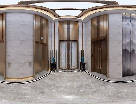 电梯间, 工装全景, 新中式