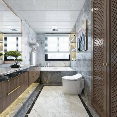 卫生间, 马桶, ?#35789;?#21488;, 盆栽, 绿植植物, 浴缸, 新中式