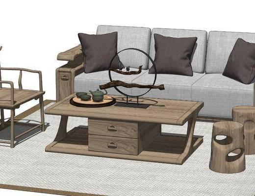 新中式沙发茶几, 闲座椅