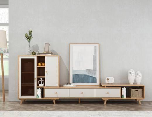 电视柜, 摆件组合, 置物柜
