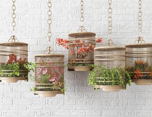 鸟笼吊饰, 花草鸟笼装饰