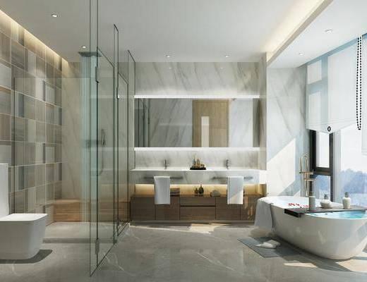 现代卫生间, 浴池, 卫生间, 现代