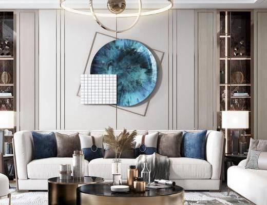沙发组合, 墙饰, 吊灯, 茶几, 摆件组合, 单椅, 边几