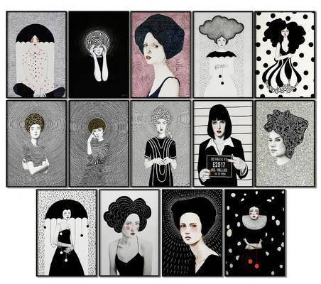 照片墙, 组合画, 装饰画, 挂画组合, 人物画, 现代简约