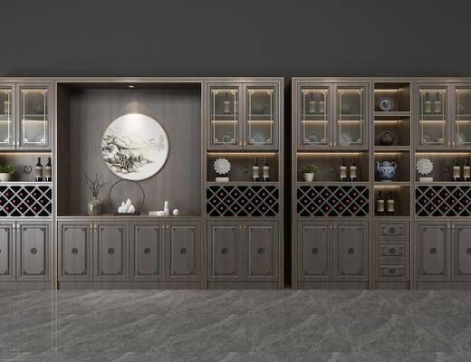 酒柜, 新中式酒柜, 摆件组合