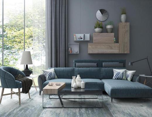 北欧简约, 沙发茶几组合, 陈设品组合, 植物盆栽, 台灯