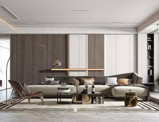 现代简约客厅, 沙发, 茶几, 落地灯