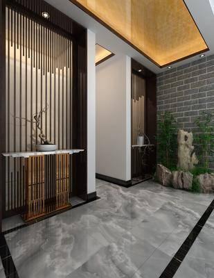 玄关, 走廊, 新中式玄关, 植物, 假山