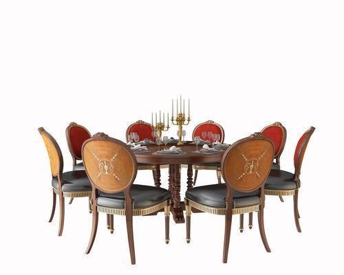 餐桌, 椅子, 单椅, 圆桌, 烛台, 餐具, 摆件, 后现代