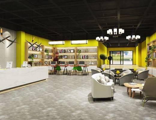 办公室, 会客, 休闲, 洽谈, 沙发组合, 前台, 接待, 现代