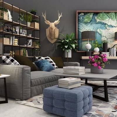 现代沙发茶几组合, 现代, 沙发组合, 布艺沙发, 茶几, 花瓶, 书本, 置物架