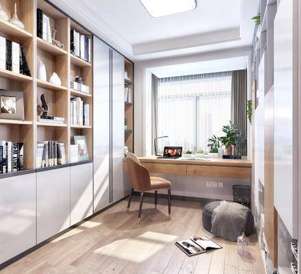 书房, 现代轻奢书房3d模型, 书柜, 书桌, 单椅, 书籍, 摆件组合