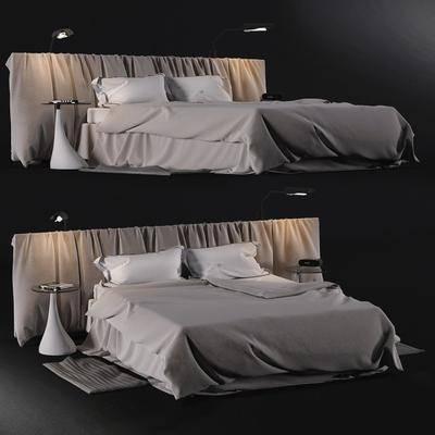 双人床, 边几, 床头灯, 枕头, 现代