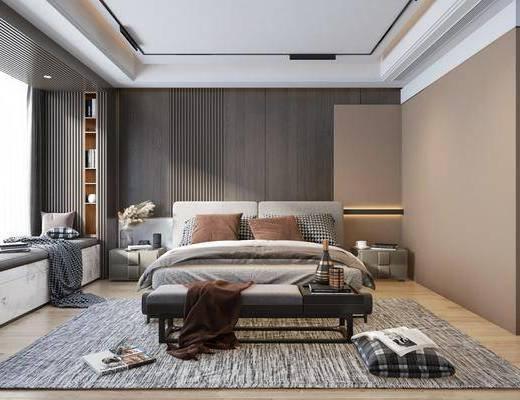 双人床, 床尾踏, 地毯, 床头柜, 台灯