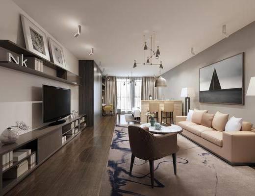 公寓, 客厅, 卧室, 多人沙发, 茶几, 单人沙发, 电视柜, 装饰柜, 边柜, 吧台, 吧椅, 单人椅, 装饰画, 挂画, 双人床, 书桌, 台灯, 摆件, 装饰品, 陈设品, 吊灯, 现代简约