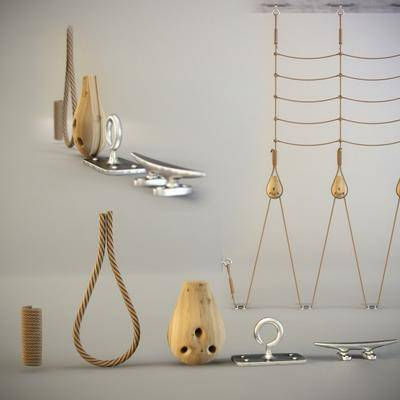 现代攀爬绳索部件组合, 现代, 麻绳