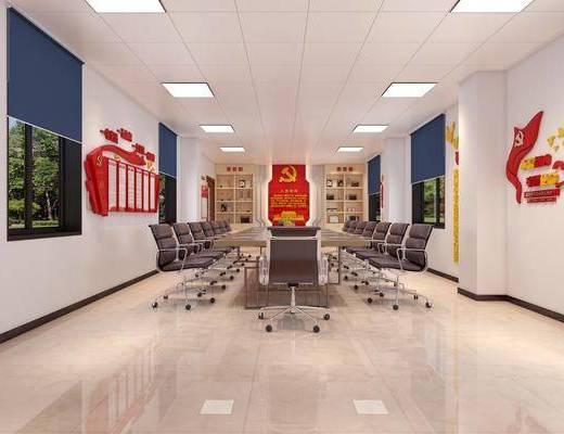 展厅, 入党誓词, 党建背景, 荣誉墙, 置物柜