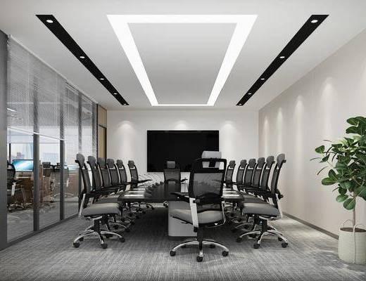 会议室, 会议桌, 桌椅组合, 植物, 屏幕