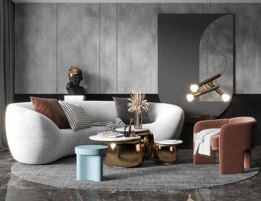 沙发组合, 茶几, 摆件, 单椅, 吊灯