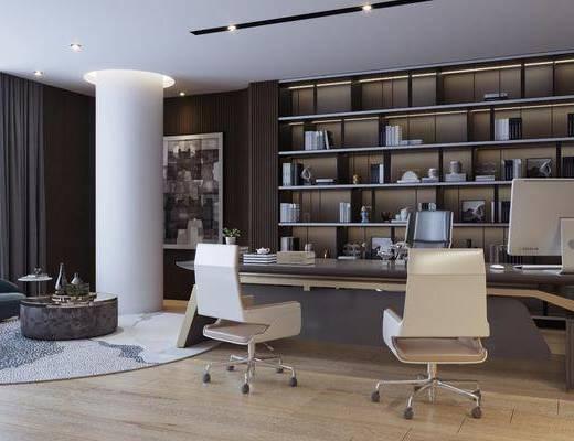 现代总经理办公室会议室3d模型, 办公室, 会议室, 沙发组合, 桌椅组合, 办公桌, 大班椅, 书柜, 书籍, 摆件组合