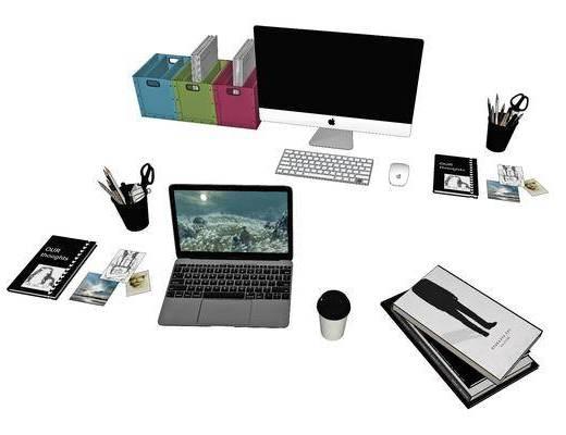 笔记本电脑, 书架, 显示器