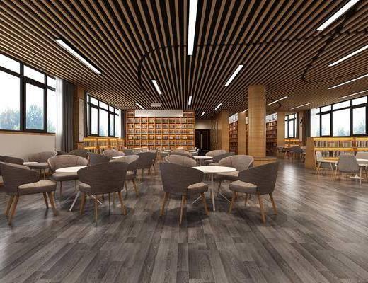阅览室, 图书馆, 公共空间, 桌椅组合, 书架