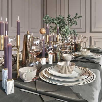 欧式简约, 餐桌椅组合, 餐具组合, 器皿, 植物