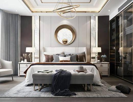 双人床, 衣柜, 单椅, 墙饰, 吊灯, 床尾踏, 床头柜