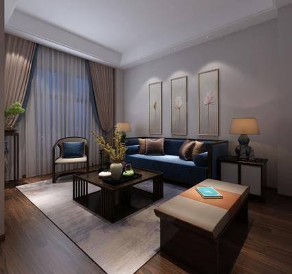 中式休息室, 茶室, 沙发组合, 沙发茶几组合, 中式