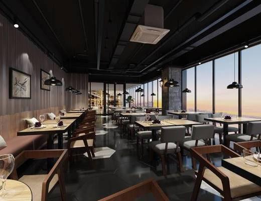 餐厅, 餐桌椅, 桌椅组合, 工业风, 餐饮, 餐具