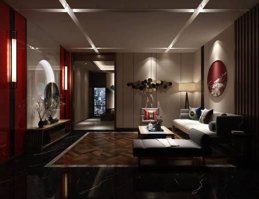 桑拿房, 多人沙发, 单人沙发, 茶几, 躺椅, ?#37096;?#30011;, 单人床, 落地灯, 墙饰, 边几, 现代