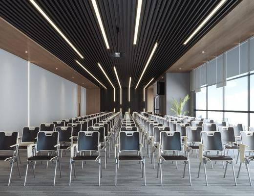 多功能厅, 单人椅, 会议室, 盆栽, 绿植植物, 现代