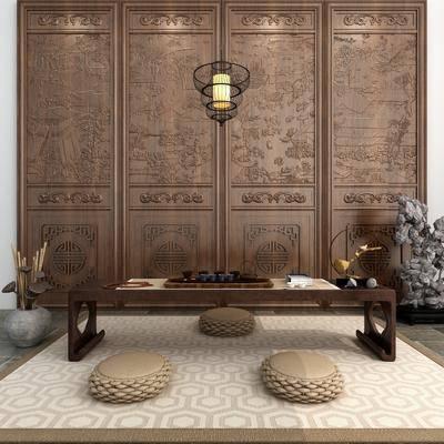 茶台, 茶桌, 茶具, 吊灯, 摆件, 装饰品, 陈设品, 根雕茶海, 新中式