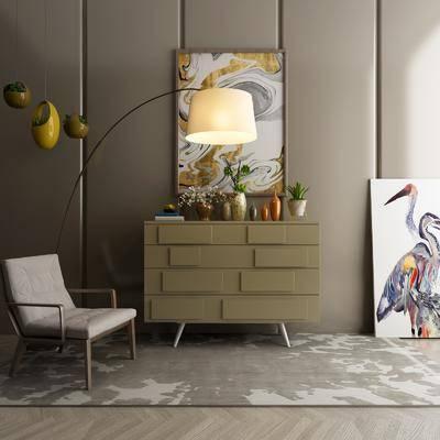 边柜, 装饰柜, 落地灯, 单人椅, 装饰画, 挂画, 摆件, 装饰品, 陈设品, 北欧