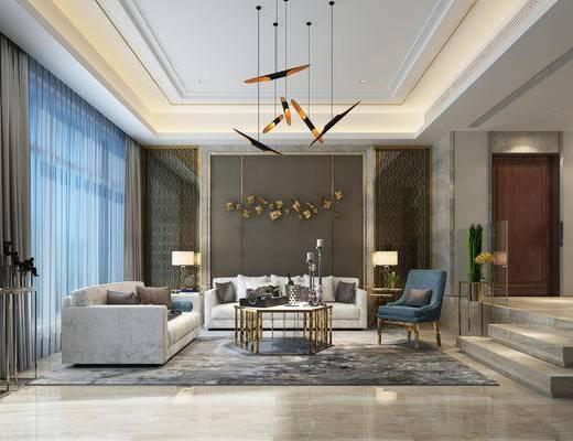 现代客厅, 客厅, 别墅, 现代吊灯, 沙发组合, 植物