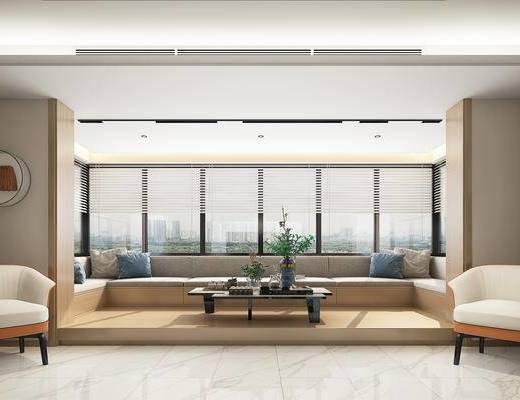 现代客餐厅, 沙发, 餐桌椅, 吊灯, 电视墙, 茶几