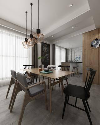 现代餐厅, 餐桌椅, 桌椅组合, 餐厅