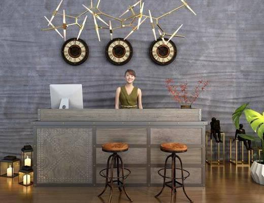 服务台, 前台, 墙饰, 人物, 单人椅, 盆栽, 绿植植物, 吊灯, 现代